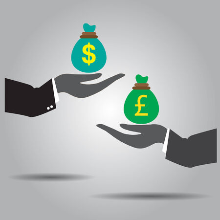 exchanging: hand exchanging money vector icon