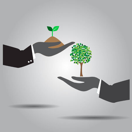hand exchanging  plant and tree  vector icon Çizim