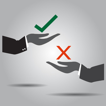 hand exchanging truth and  wrong vector icon Vector