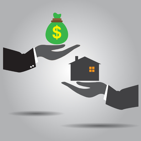 exchanging: hand exchanging  money  and  home vector icon Illustration