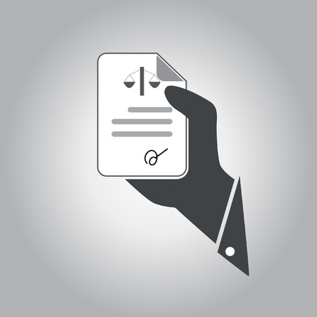 signing document: hand hold  document law vector icon Illustration