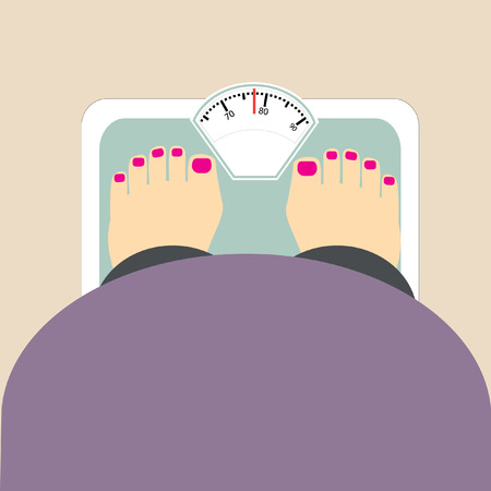 weight loss woman: fat woman weigh vector icon Illustration