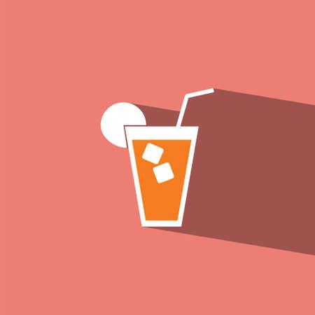 orange juice glass: icona piatto bicchiere di succo d'arancia