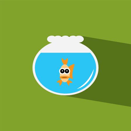 gold fish bowl flat icon  vector illustration eps10   Vector