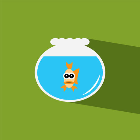 goldfish jump: gold fish bowl flat icon  vector illustration eps10