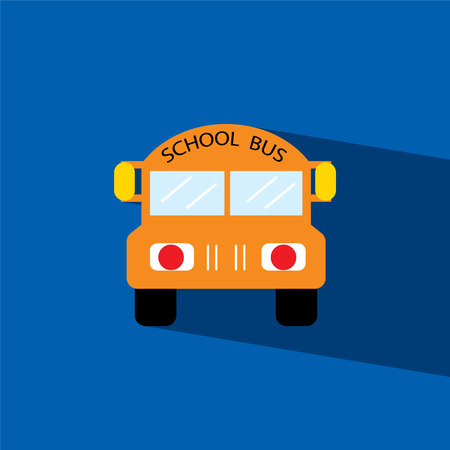 school bus flat icon illustration Vector