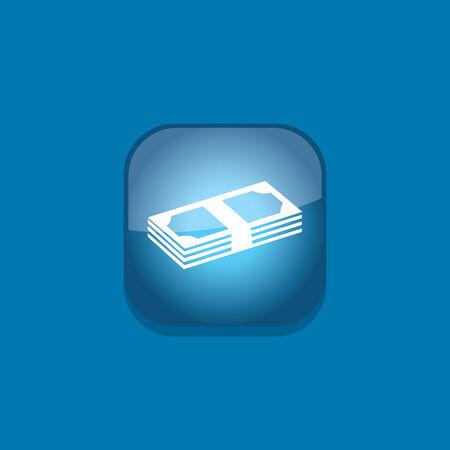 banco dinero: banco icono del bot�n del dinero ilustraci�n vectorial plana