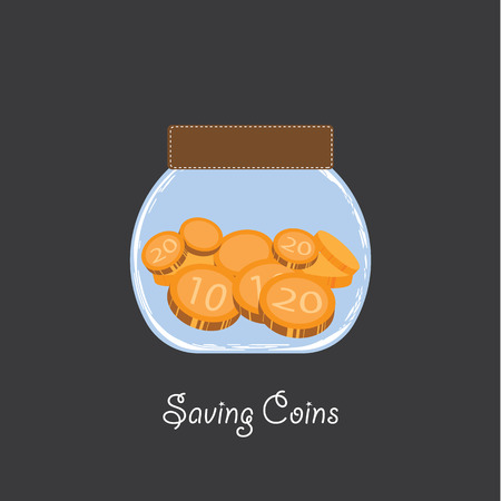 save money in jar flat icon  vector illustration