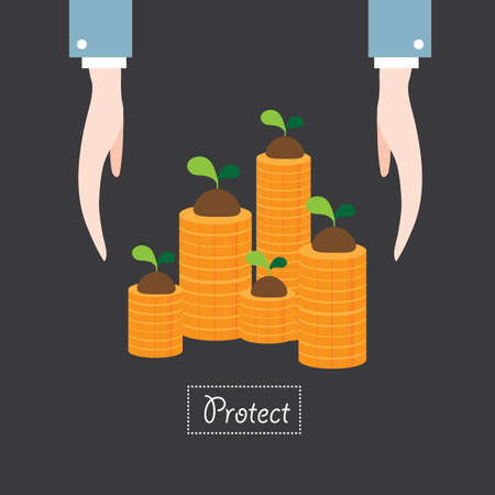 protect: hand protect money plant flat icon  vector illustration