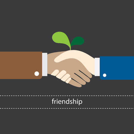 shake hand is begin friendship vector illustration