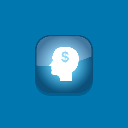 home value: head think money button icon flat  vector illustration  Illustration