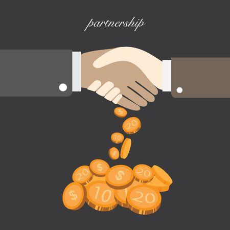 shake hand is partnership result money vector illustration