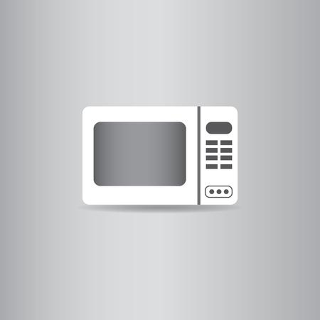 blue white kitchen: microwave oven flat icon  vector illustration  Illustration