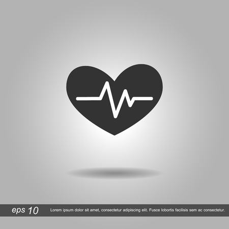 cardiograph: heartbeat icon vector illustration  on grey background Illustration