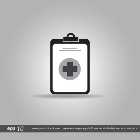 medical clipboard: Medical clipboard icon vector illustration  on grey background