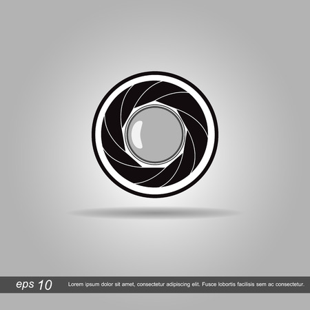 focal: lens icon vector illustration on grey background