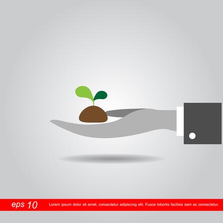 crecimiento planta: Planta de explotaci�n de la mano. Concepto de ilustraci�n vectorial Crecimiento.