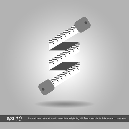 centimeters: Curled measuring tape icon vector illustration eps10 on white background Illustration