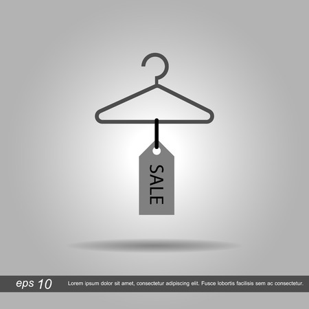 coat hanger: coat hanger and sale tag vector illustration eps10