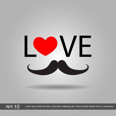 ray ban: I love Hipster style, glasses and mustaches. vector illustration