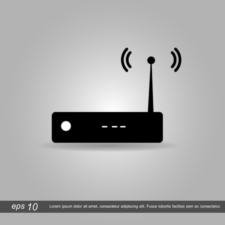 ethernet: router icon vector illustration  on grey background