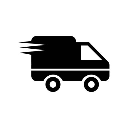 Logistics delivery truck in movement icon vector illustration  on white background