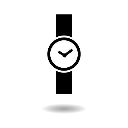 lady clock: Wristwatch icon vector illustration  on white background Illustration