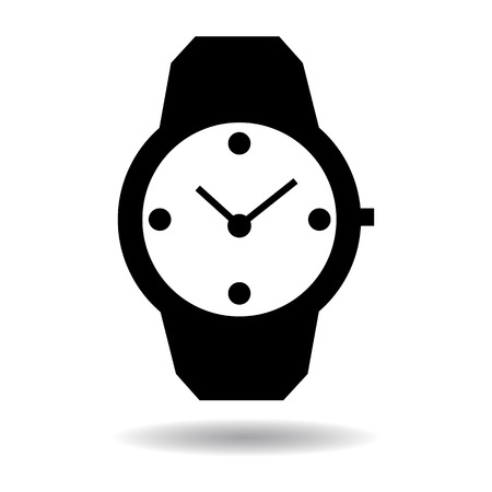 midnight hour: Wristwatch of circular shape icon vector illustration  on white background Illustration