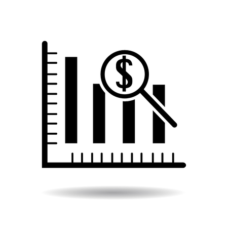nasdaq: Dollar analysis bars chart icon vector illustration eps10 on white background