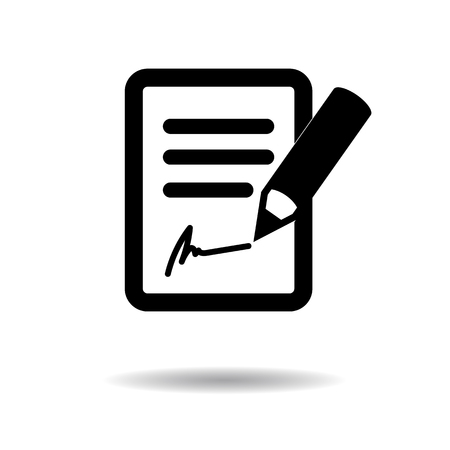 signing papers: Signing the contract icon vector illustration eps10 on white background