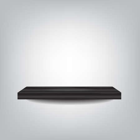 black wood shelf on grey background vector illustration eps10 on grey background Illustration