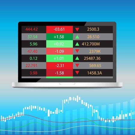 stockmarket chart: computer stock display vector illustration