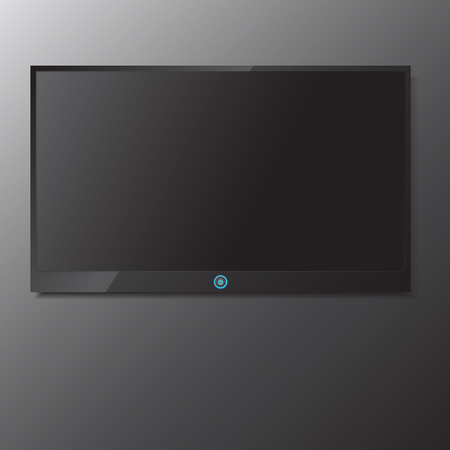 tv screen: LED  LCD TV screen hanging on grey background