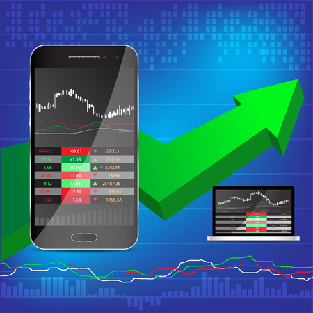 stock market  finance: phone and laptop stock display