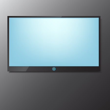 lcd screen: LED  LCD TV screen hanging on grey background