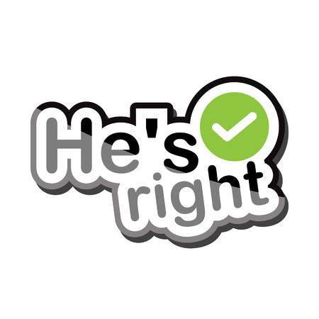hes: hes right text design on white background isolate vector illustration eps 10 Illustration