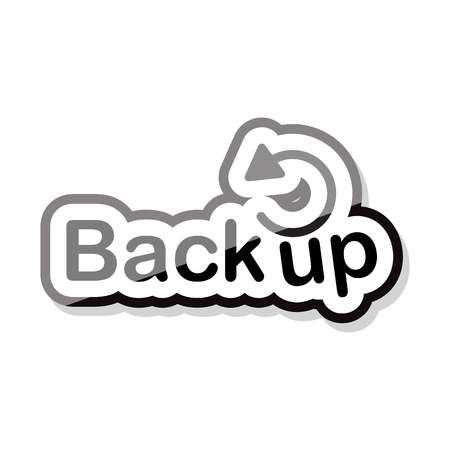 back up text design on white background isolate vector illustration eps 10 Çizim