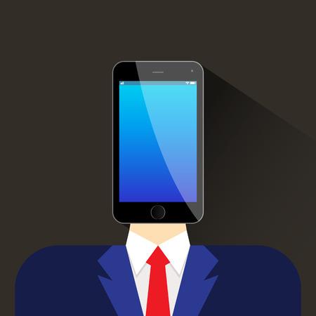 head phone: person head phone flat icon vector illustration eps 10 Illustration