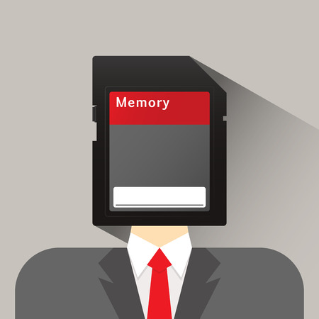 upgrading: businessman head memory card flat icon vector illustration eps 10