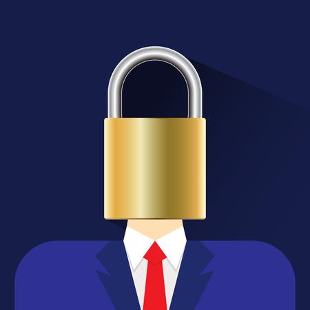 key to freedom: person head lock flat icon vector illustration eps 10