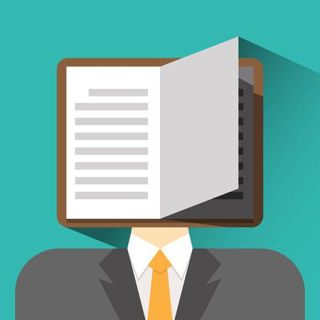 man holding book: businessman head book flat icon vector illustration eps 10 Illustration