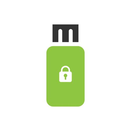 pendrive: Secure Pendrive flat icon isolate on white background vector illustration eps 10