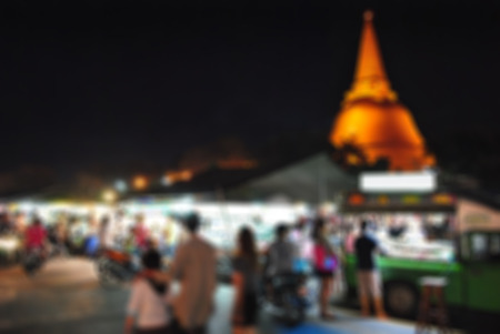 Blurred abstract background of Night Market Wat Phra Pathom Chedi, Thailand. 写真素材