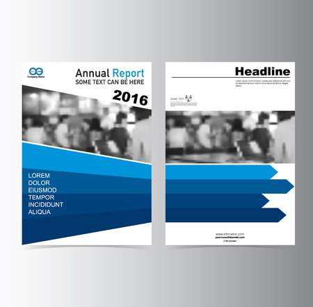 Blue annual report Brochure Flyer Leaflet  template vector A4 size design, book cover layout design, Abstract presentation Ilustração
