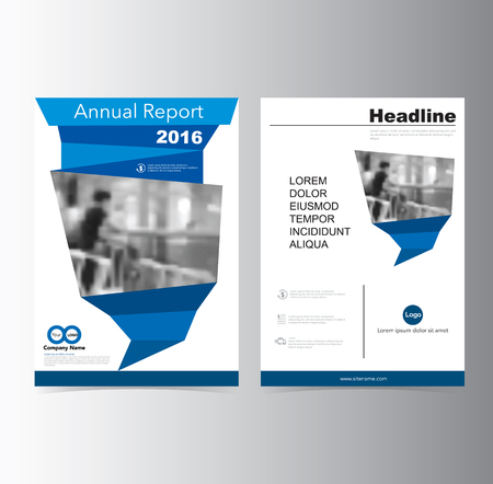 Blue annual report Brochure Flyer Leaflet  template vector A4 size design, book cover layout design, Abstract presentation Çizim