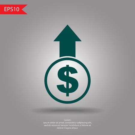 escalation: Dollar up sign vector Illustration