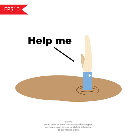 desperate: A man sinking into quicksand vector Illustration