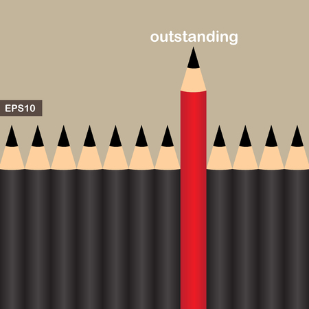 red pencil: Red pencil with an outstanding group, business concept vector Illustration