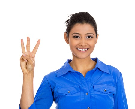 cost estimate: Closeup portrait of young pretty woman giving a three fingers sign gesture with hands