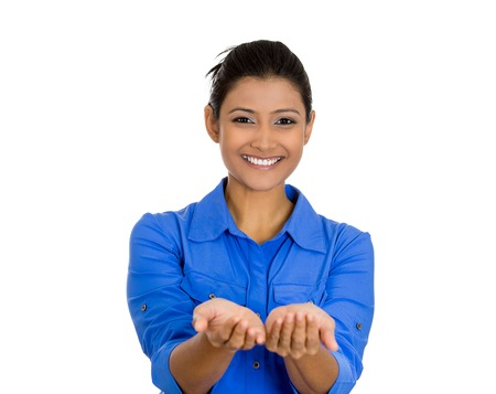 free me: Closeup portrait of a young beautiful smiling, happy excited woman with raised up palms arms offering something Stock Photo
